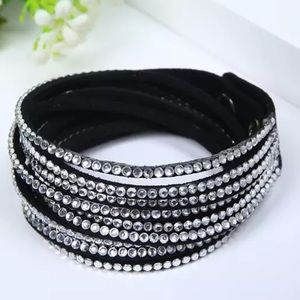 Black and rhinestone vegan leather bracelet NEW